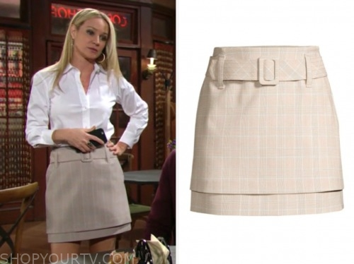 sharon newman, sharon case, the young and the restless, beige belted mini skirt