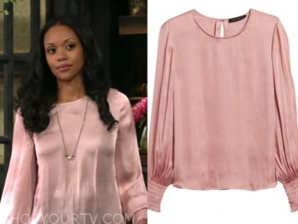 amanda st. clair, the young and the restless, pink blouse, mishael morgan