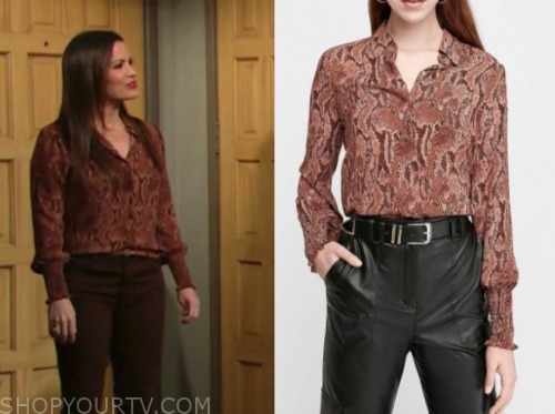 the young and the restless, chelsea newman, snakeskin blouse, melissa claire egan