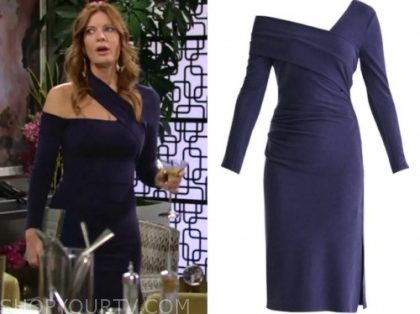 phyllis newman, michelle stafford, the young and the restless, navy asymmetric dress