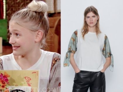 the young and the restless, faith newman, alyvia alyn lind, tiger sleeve top