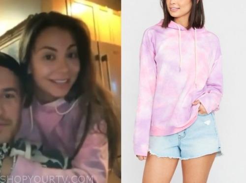 kelley f., the bachelor, pink tie dye hoodie