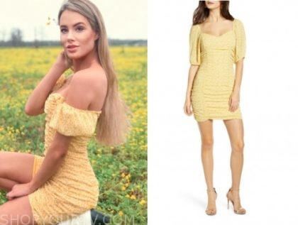 victoria paul, yellow floral ruched dress, the bachelor