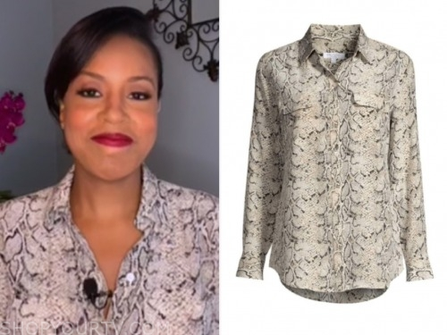 sheinelle jones, the today show, snakeskin blouse