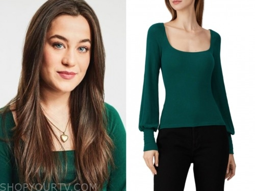 bekah, the bachelor: listen to your heart, green sweater top