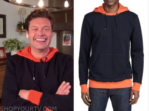 ryan seacrest, live with kelly and ryan, orange and navy hoodie