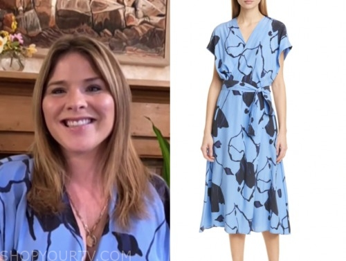 jenna bush hager, the today show, blue floral wrap dress