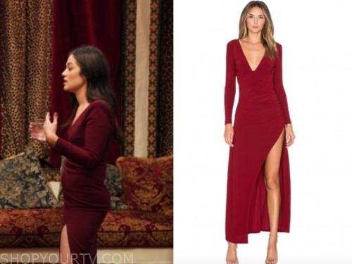 the bachelor: listen to your heart, bekah, burgundy red slit dress