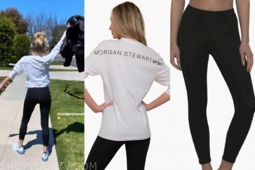 E! news, morgan stewart, logo top, black leggings