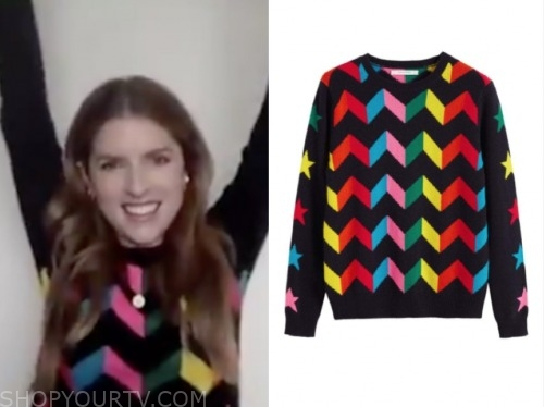 the today show, anna kendrick, multicolor chevron sweater