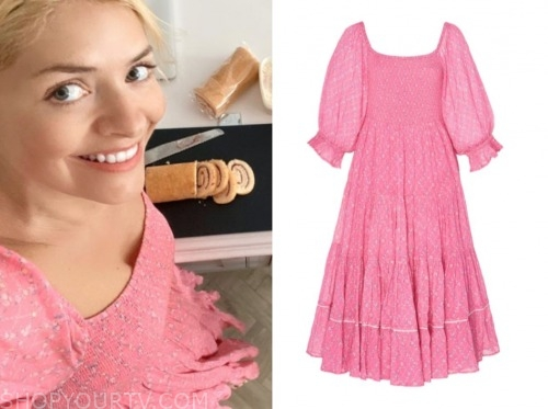 holly willoughby, pink printed dress, this morning