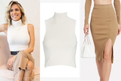 kristin cavallai, white sleeveless turtleneck, camel skirt