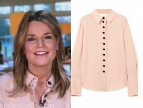 the today show, savannah guthrie, peach and black blouse