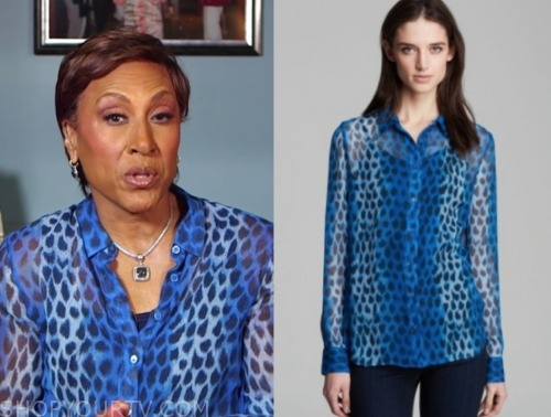 robin roberts, blue leopard blouse, good morning america
