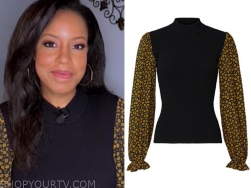 the today show, sheinelle jones, floral sleeve sweater