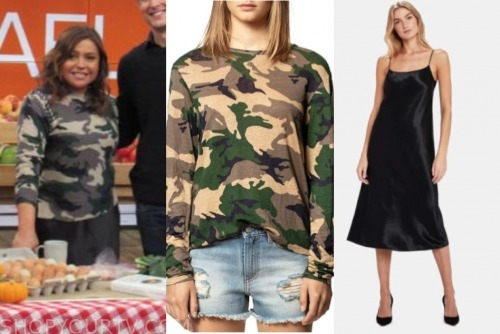 the rachael ray show, rachael ray, camo sweater, black silk skirt dress