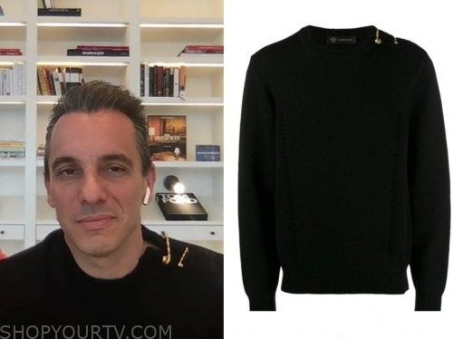 sebastian maniscalco, live with kelly and ryan, black safety pin sweater