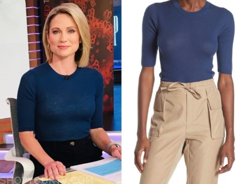 amy robach, good morning america, blue knit top