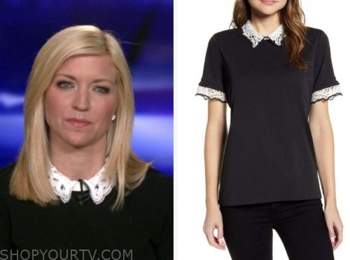 ainsley earhardt, fox and friends, black lace collar top