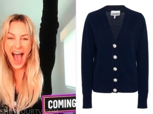 morgan stewart, E! news, daily pop, navy embellished button cardigan