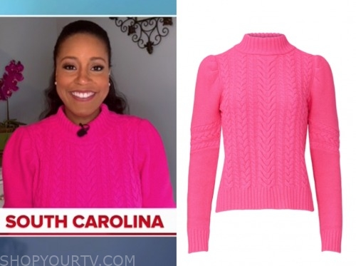 sheinelle jones, the today show, hot pink sweater