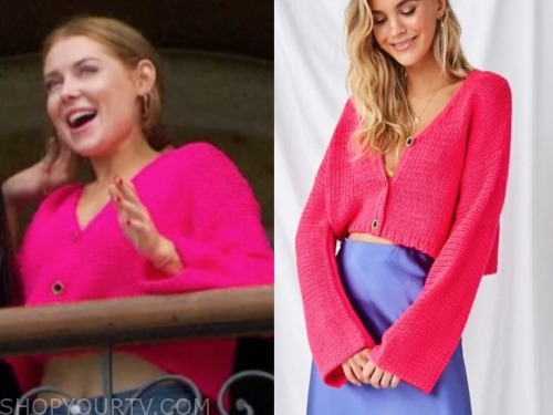 lexie b., the bachelor, hot pink cardigan sweater