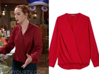 mariah copeland, camryn grimes, the young and the restless, red drape blouse