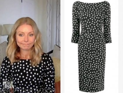 kelly ripa, black and white polka dot dress, live with kelly and ryan