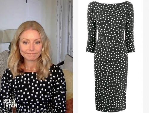 kelly ripa, black and white polka dot dress, live with kelly and ryan
