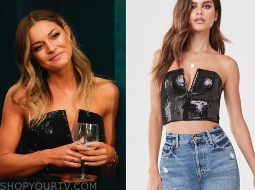 savannah, the bachelor: listen to your heart, black sequin strapless top