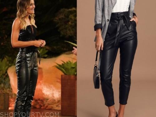 savannah, black leather tie waist pants, the bachelor: listen to your heart