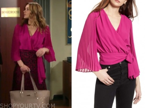 summer newman, hunter king, pink pleated wrap top, the young and the restless