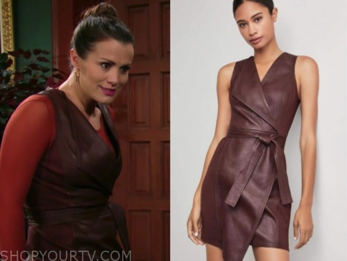 chelsea newman, melissa claire egan, the young and the restless, burgundy leather dress
