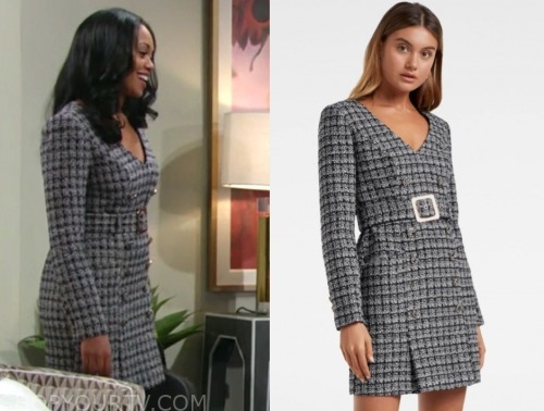 amanda sinclair, mishaal morgan, the young and the restless, boucle tweed dress