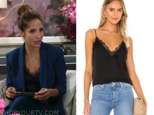 the young and the restless, black lace camisole, lily winters, christel khalil
