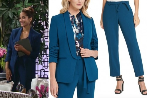lily winters ashby, the young and the restless, blue pant suit, christel khalil