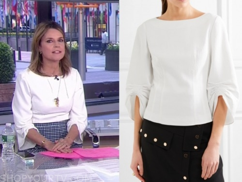 savannah guthrie, white ruched sleeve top, the today show