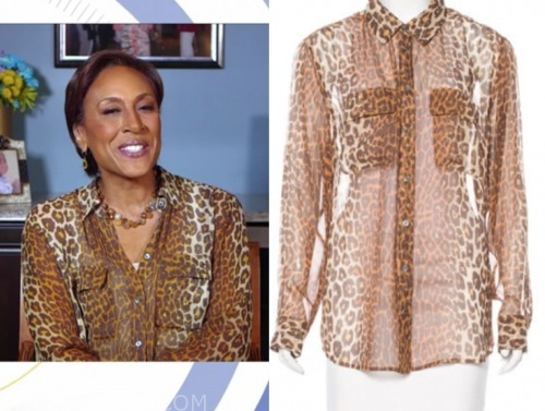 robin roberts, good morning america, leopard blouse