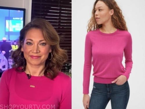 ginger zee, good morning america, pink sweater