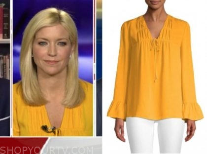 ainsley earhardt, yellow blouse, fox and friends