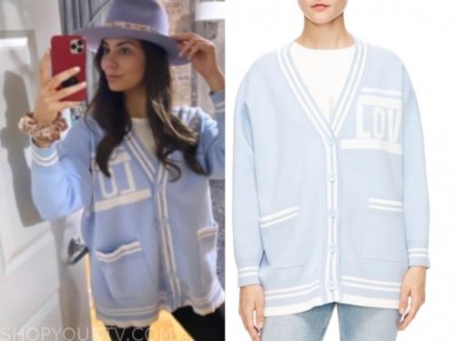 kelley, the bachelor, light blue love cardigan sweater