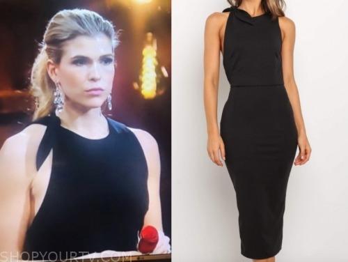 julia, the bachelor: listen to your heart, black bow shoulder dress