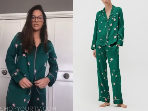 olivia munn, the talk, green star print pajama set