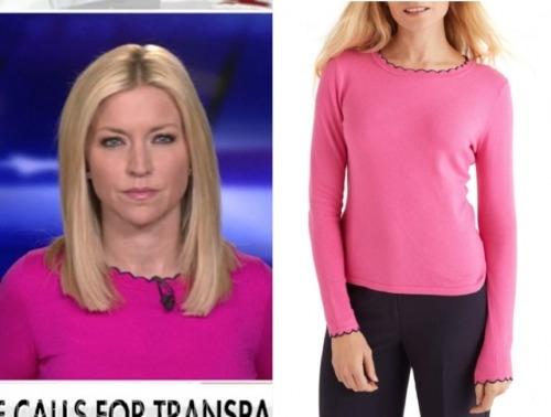 fox and friends, ainsley earhardt, pink scallop sweater