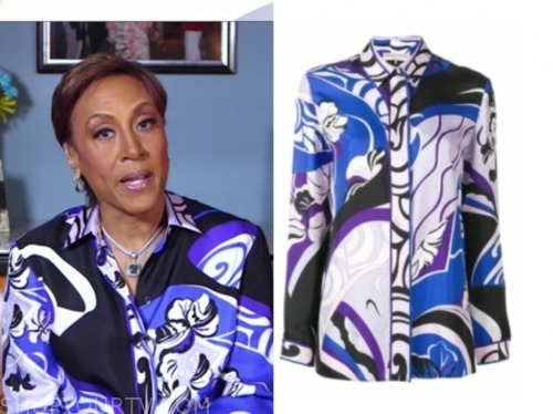 robin roberts, printed blouse, good morning america