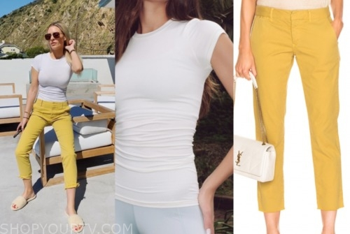 morgan stewart, E! news, yellow pants