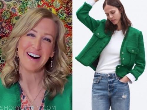 lara spencer, good morning america, green tweed jacket