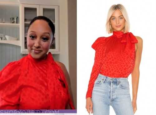 tamera mowry, the real, red star print asymmetric blouse