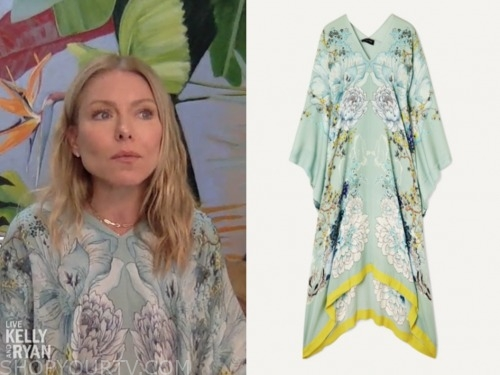 kelly ripa, live with kelly and ryan, green floral caftan
