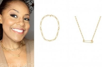 sheinelle jones, the today show, gold chain choker and safety pin necklace